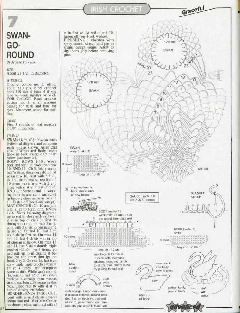 Салфетки с лебедями схемы вязания крючком 18