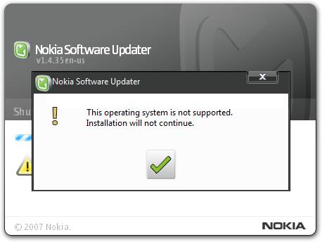 """Решение ошибки """"Данная операционная система не поддерживается"""" при установке ПО от Nokia на ПК"""