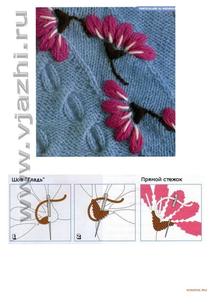 Схемы вышивки цветов на трикотаже