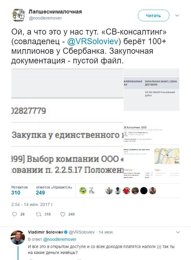Уникальные услуги Владимира Соловьёва